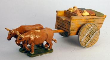 Ancient Grain Ox Cart with Wooden Wheels